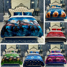 Renewed Printed Heavy Soft Warm Plush Blanket Sherpa Backing For Winter K/Q 3PCS