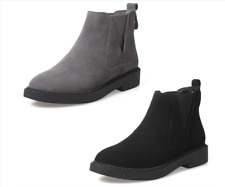 2017 Classic Women Gray Suede Flat Low Heel Ankle Boots Bootie Round Toe Shoes