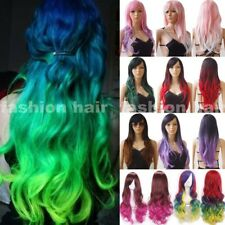 Latest Ombre Cosplay Wig With Bangs Long Wavy Straight Costume Hair Wig Women 30