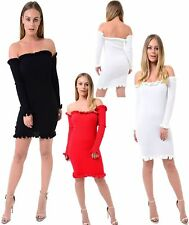 Women's Off Shoulder Frill Knitted Mini Dress Ladies Long Sleeve Bodycon Top