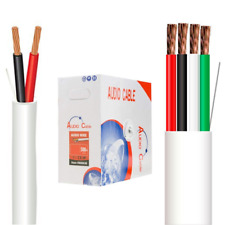 Speaker Wire Bulk Cable In Wall CL2 12 16 18 AWG 4 2 Cunductor 250ft 500ft White