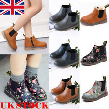 Kids Girls Boys Leather Martin Snow Boots Fur Warm Shoes Side Zip Ankle Boots