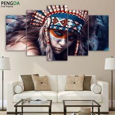 Indians Girl Feather Painting Wall Poster Picture Modern Canvas Art Home Decor