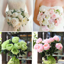 5 Heads Fake Peony Bridal Bunch Bouquet Flower Home Wedding Floral Decor
