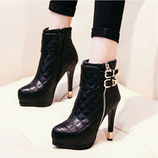 Womens Round Toe Side Zipper Buckles High Heel Ankle Boots Warm Platform Shoes