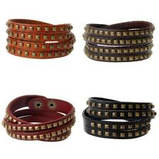 Womens Multilayer Wrap Gothic Rivet Punk Rock Cuff Bangle Wristband Bracelet
