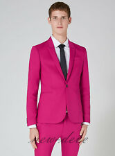2017 Fashion Hot Pink Men's Tuxedos Suits 3 Pieces Groom Party Work Suits Custom