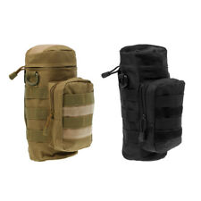 2 x Molle Water Bottle Bag Outdoor Tactical Military Kettle Bag Pouch Holder