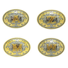 Classic Silver And Gold Alloy Initial Letter Belt Buckle for Faux Leather