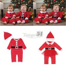 Baby Boys Girls Santa Claus Outfit Long Sleeve Romper Christmas Party Costume