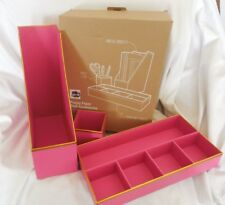Pottery Barn Teen Printed Paper Desk Accessories Set Pink & Basketball NWOT