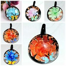 1xUnique Murano Lampwork Glass Round Butterfly Flower Charm Pendant Necklace DIY