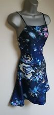 BNWT New LIPSY Blue Pink Silver Floral Foil Apron Skater Empire Dress size 16