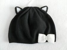 NEW Gymboree City Kitty Black Cat Beanie Sweater Hat Baby Girl 6-12mo or 12-24mo