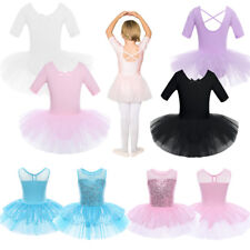 Kids Girls Cotton Tulle Tutu Ballet Dance Dress Leotard Skirt Ballerina Costume