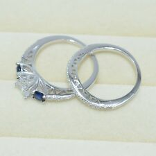1.5ct Blue Sapphire CZ 925 Sterling Silver Engagement Wedding Ring Set Size 5-10