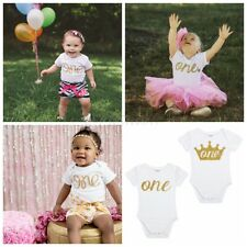 Infant Baby Boy Girl 1st Birthday Crown Romper Bodysuit Party Clothes Outfits