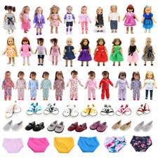 Cute Doll Clothes Pjs Dress Canvas/PU Leather Shoes for 18'' American Girl Dolls