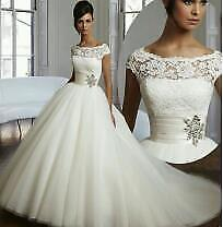 New White Ivory Lace Ball Gown Wedding Dress Bridal Gowns Size 6+8+10+12+14+16 x