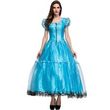 New Deluxe Alice In Wonderland Fairy Tale Princess Costume Dress Blue For Adult