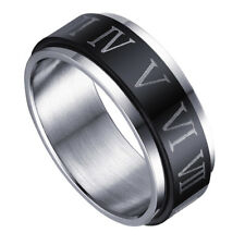 Stainless Steel Roman Numerals Turnable Ring Punk Rock Jewelry Ring Size 10-12