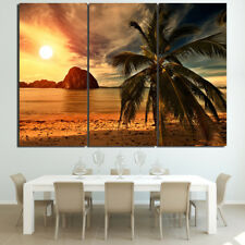 Sunset Beach Coconut Painting Poster Modern Picture Canvas Wall Art Home Decor