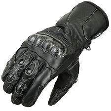 Men's Motorcycle Kevlar Gloves Motorcycle Biker Leather Gloves Black Size M