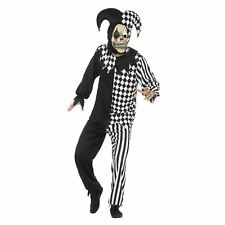 Mens Evil Jokers Jester Costume Circus Scary Clown Halloween Fancy Dress + Mask