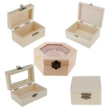 Unfinished Wooden Ring Jewelry Trinket Box Wood Storage Container Case Kids Toys