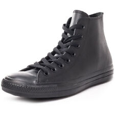 Converse All Star Leather Hi Mens Trainers Black Black New Shoes