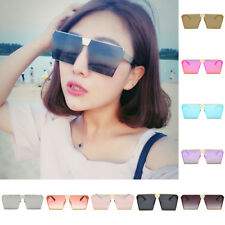 Womens Mens Oversized Large Big Sunglasses Square Flat Retro Vintage UV400