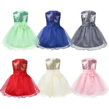 Infant Baby Girls Mesh Flower Dress Sequins Princess Pageant Wedding Party 3-24M