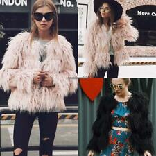 Women Open Front Long Sleeve Solid Fall Winter Faux Fur Coat Elagant CLSV