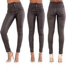 Womens Black High Waist Leather Look Skinny Fit 4 Button Trousers Size 8-14