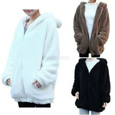 UK Womens Girls Winter Warm Fleece Coat Hooded Bear Ears Jacket Hoodie Outerwear