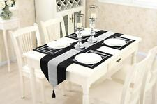 Black Table Runner Set Cushion Chenille Tasseled Placemat Diamante Wedding Venue