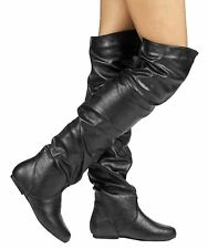 RF Room Of Fashion TrendHI-02 Vegan Slouchy Pullon Over-the-Knee Boots BLACK PU