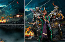 POSTER BACKDRP/SET~AVENGERS~NYC WAR 3 FOR 1/6 HOT TOYS IRON MAN LOKI THOR MMS360