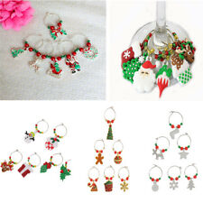 Set of 6pcs Christmas Santa Claus Wine Glass Charms Marker Rings Decoration