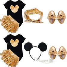 Gold Mouse Baby Girl Romper T-Shirt Top Skirt Dress Costume Kid Outfit Clothes