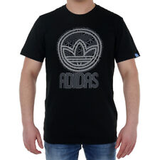 adidas Originals Circle Trefoil Men's Sports Black Tee Short Sleeve T-Shirt