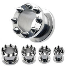 Fashion Screw Fit Stainless Steel Flesh Ear Tunnels Plugs Ear Gauges