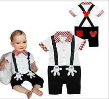 NEW Toddler Baby Boy Mickey Mouse Faux Suspender Costume Romper 12-18 Months