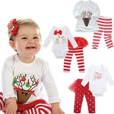 Christmas Baby Boys Girls Romper Jumpsuit Bodysuit + Pants Clothes Outfits Sets