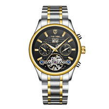 TEVISE Six Hands Silver Gold Self-winding Mens Watch Automatic Mechanical Week