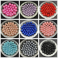 100pcs DIY 4mm 6mm 8mm No Hole Round Pearl Loose Acrylic Beads Jewelry Making FF
