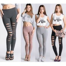NEW ITEM Fashion Women Ripped Stretchy Torn Skinny Slim Leggings Pants free size
