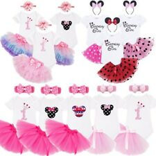 1st first birthday baby girls tutu outfit 3pcs Set pink party dress+Headband New