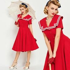 Vintage 1950s Red Nautical Inspired Dress pinup rockabilly 50s full skirt