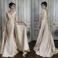 New Lace Satin Applique with Train Wedding Dress Long Sleeve Mermaid Bridal Gown